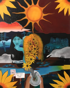 An acrylic painting of a girl with long black hair and blue skin with a dark red sky and big sun behind her and images of sunflowers, water, earth, and people holding signs about protecting water