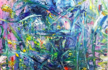 Abstract expressionist style painting with mainly blue, yellow, and green with some yellow and red. Strokes are chaotic slashes with few curves.