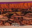 A dramatic ink drawing of a canyon in reds and oranges.