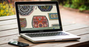 Laptop with Haudenosaunee beadwork