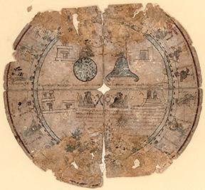 Boban calendar wheel on amatl paper, Aztec, ca. 1545–46