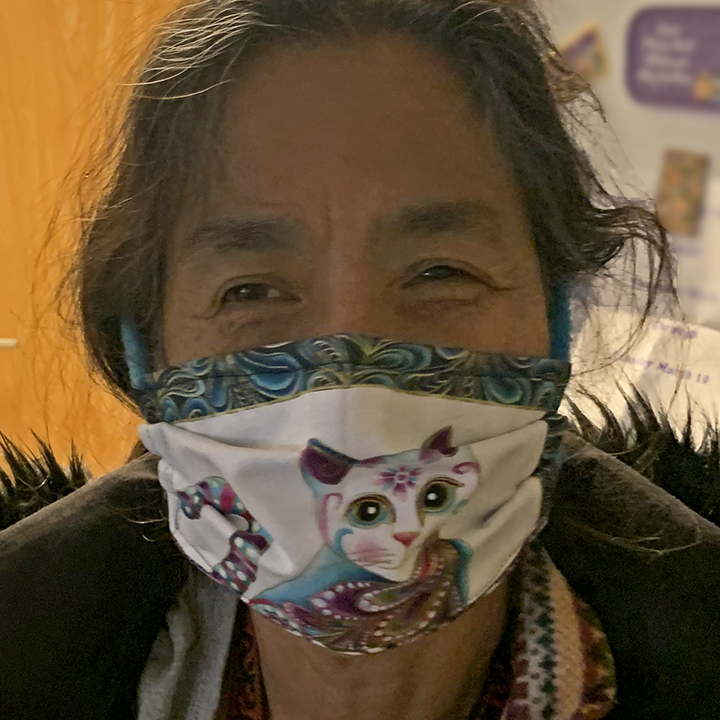 Carol Wren mask with model